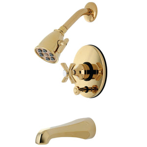 Millennium Single Handle 3-Hole Tub and Shower Two Handle Cross Faucet, 1.8 gpm & 7 gpm