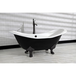 Aqua Eden 72-Inch Cast Iron Double Slipper Clawfoot Tub (No Faucet Drillings)