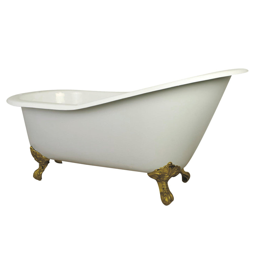 "Aqua Eden 61"" Cast Iron Slipper Clawfoot Bath Tub with 7"" Faucet Drillings and Feet"