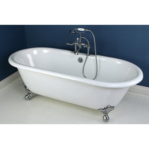 Aqua Eden 66-Inch Cast Iron Double Ended Clawfoot Tub with 7-Inch Faucet Drillings