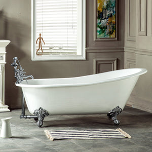 Aqua Eden 67-Inch Cast Iron Single Slipper Clawfoot Tub with 7-Inch Faucet Drillings
