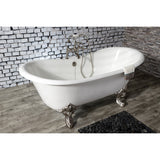 Aqua Eden 67-Inch Cast Iron Double Slipper Clawfoot Tub with 7-Inch Faucet Drillings