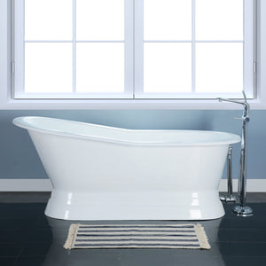 Aqua Eden 67-Inch Cast Iron Single Slipper Pedestal Tub (No Faucet Drillings)