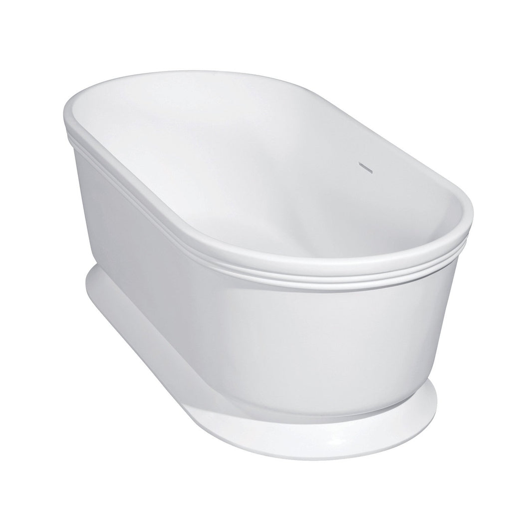 Arcticstone 59-Inch Double Ended Solid Surface Pedestal Tub with Drain
