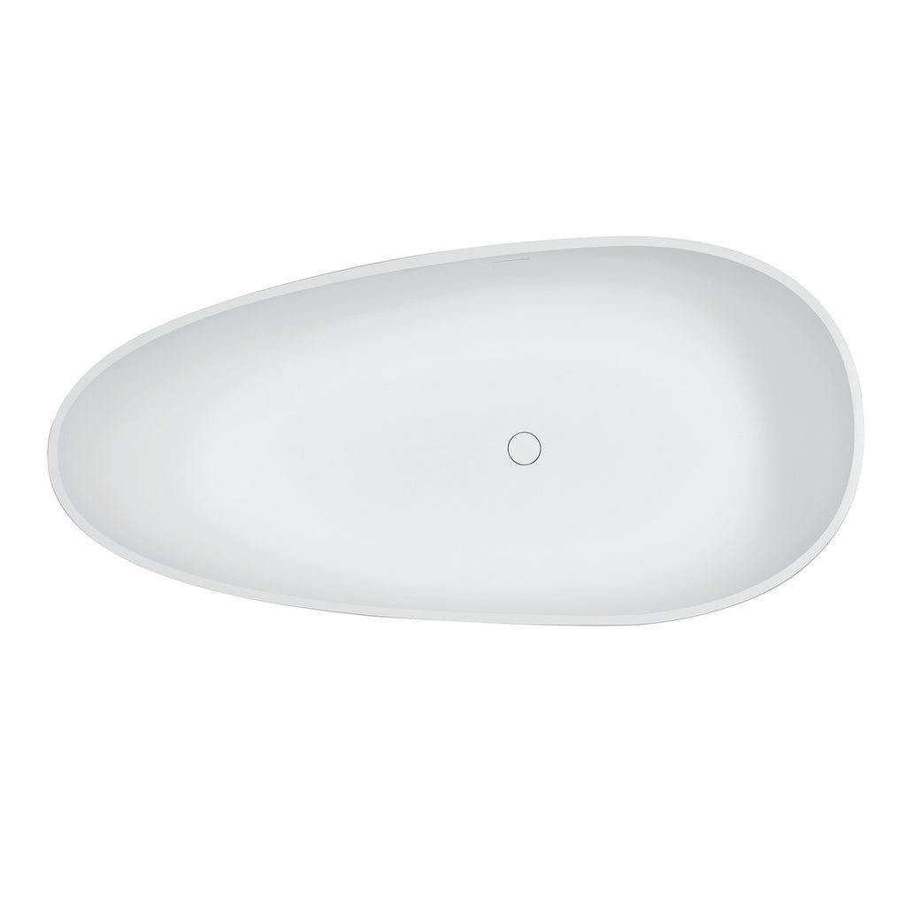 Arcticstone 67-Inch Egg Shaped Solid Surface Freestanding Tub with Drain