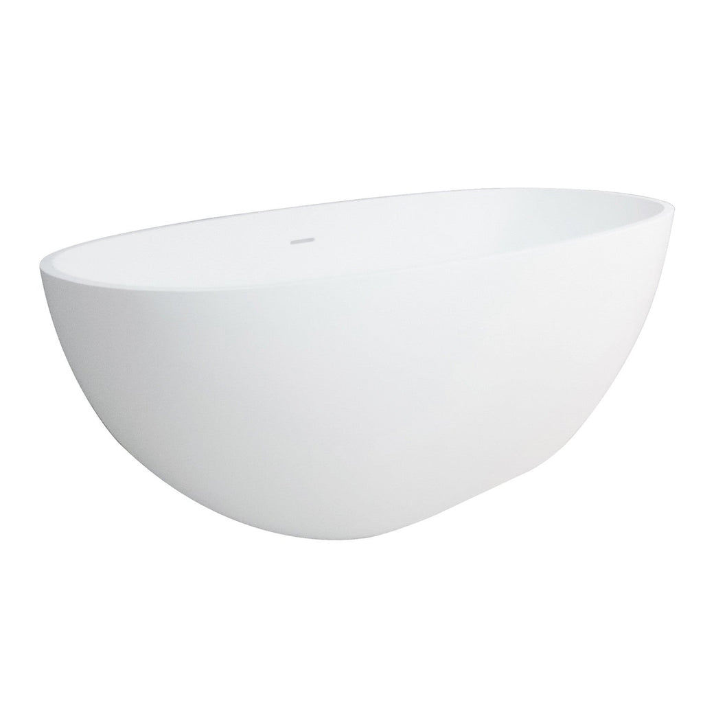 Aqua Eden 65-Inch Solid Surface Matte Stone Freestanding Oval Tub with Drain, Matte White