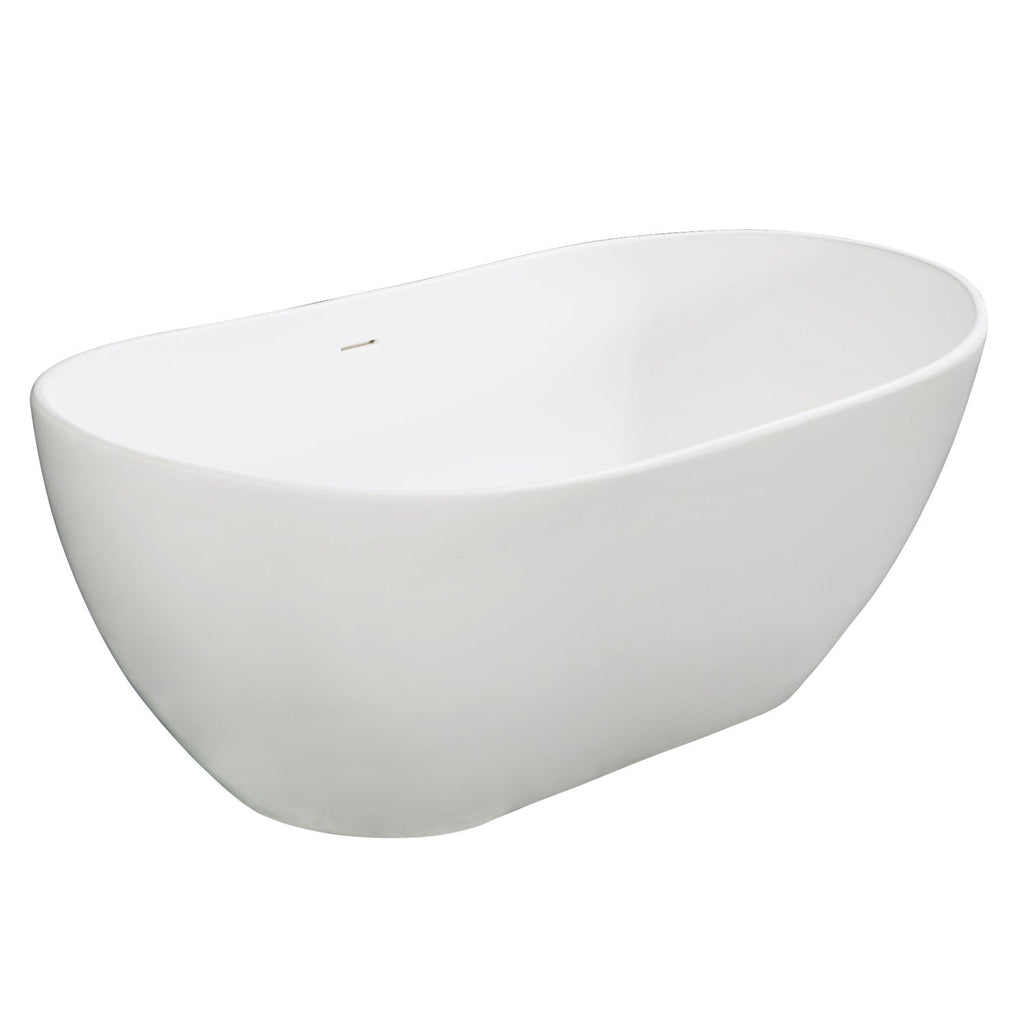 "Arcticstone 65"" Solid Surface Matte Stone Freestanding Tub with Drain"