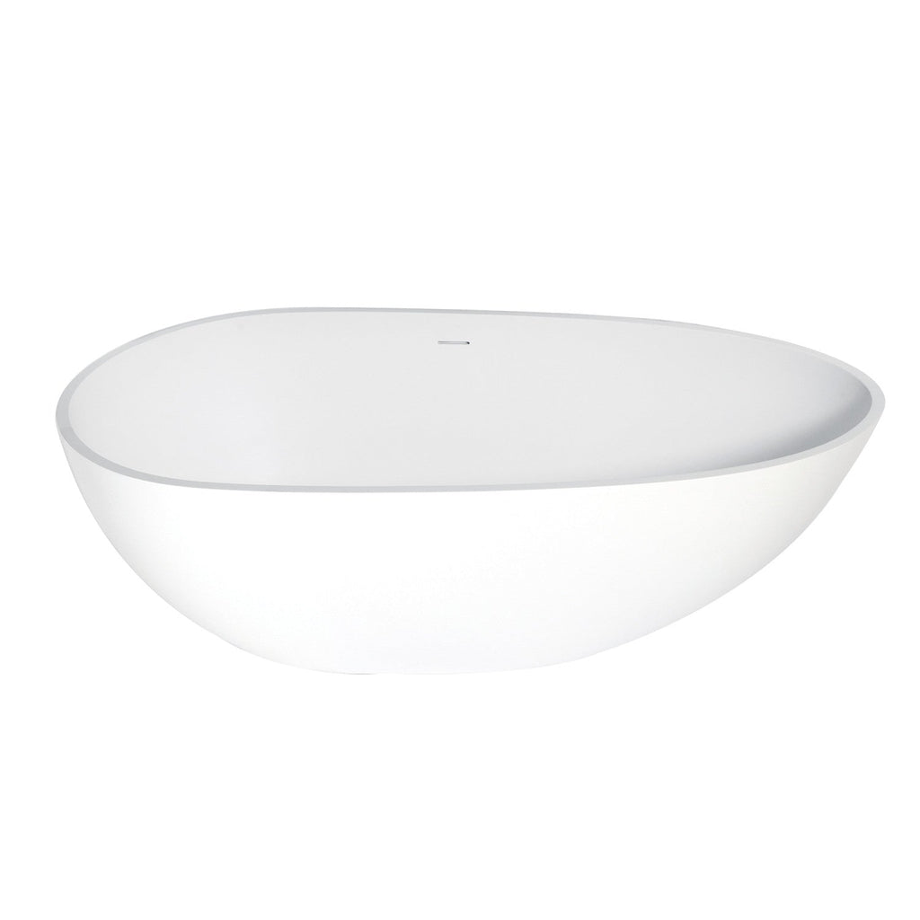 Aqua Eden 67-Inch Solid Surface Matte Stone Freestanding Tub with Drain, Matte White