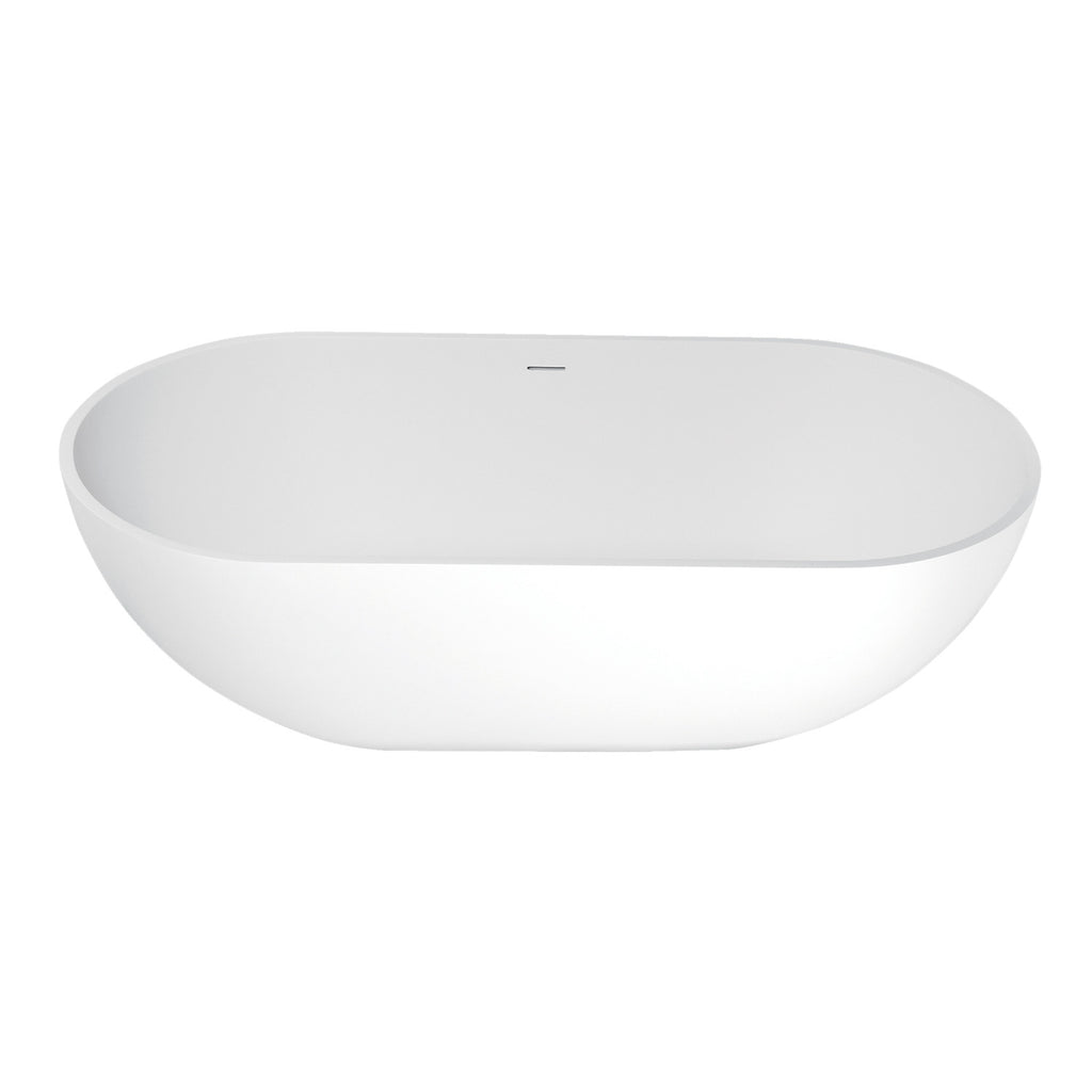 "Arcticstone 70"" Solid Surface Matte Stone Freestanding Oval Tub with Drain"