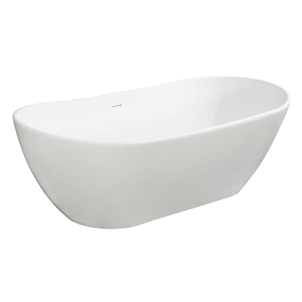 "Arcticstone 72"" Solid Surface Matte Stone Freestanding Tub with Drain"