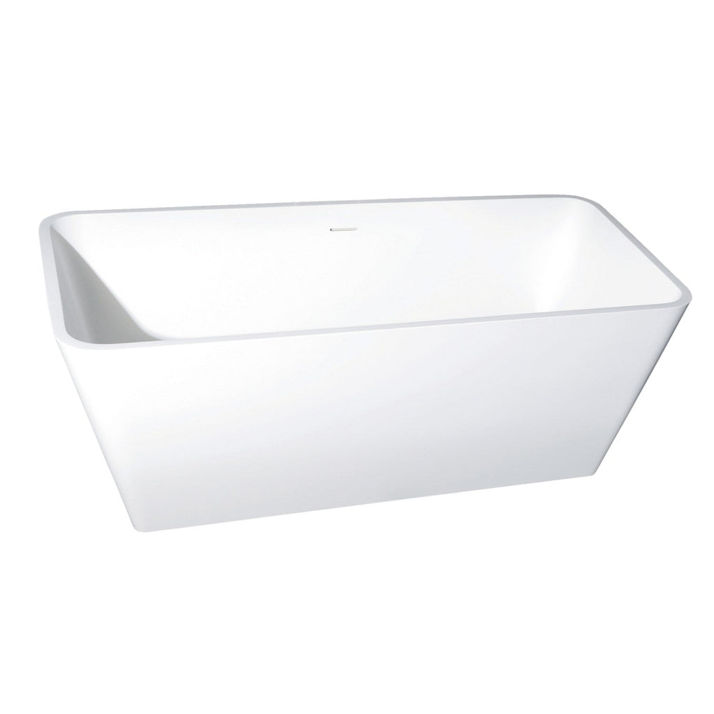 "Arcticstone 59"" Solid Surface Matte Stone Freestanding Rectangular Tub with Drain"