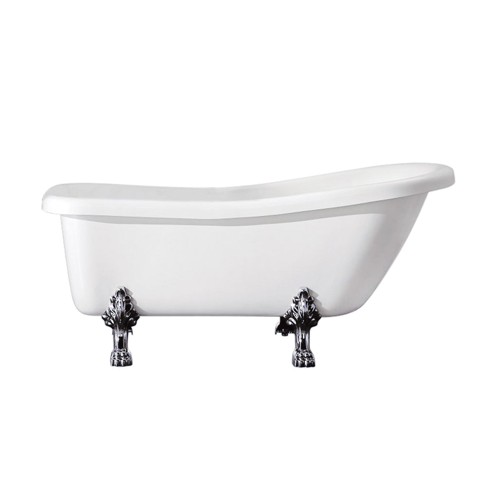 "Aqua Eden 67"" Acrylic Slipper Clawfoot Bath Tub with 7"" Faucet Drillings and Feet"