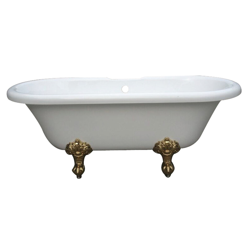 "Aqua Eden 67"" Acrylic Double Ended Clawfoot Bath Tub with 7"" Faucet Drillings and Feet"