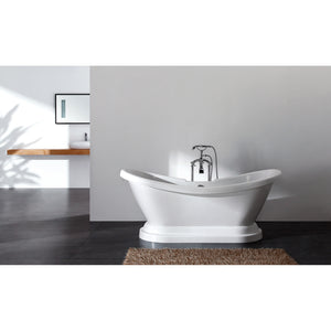 "Aqua Eden 69"" Acrylic Double Slipper Pedestal Tub with 7"" Faucet Drillings"