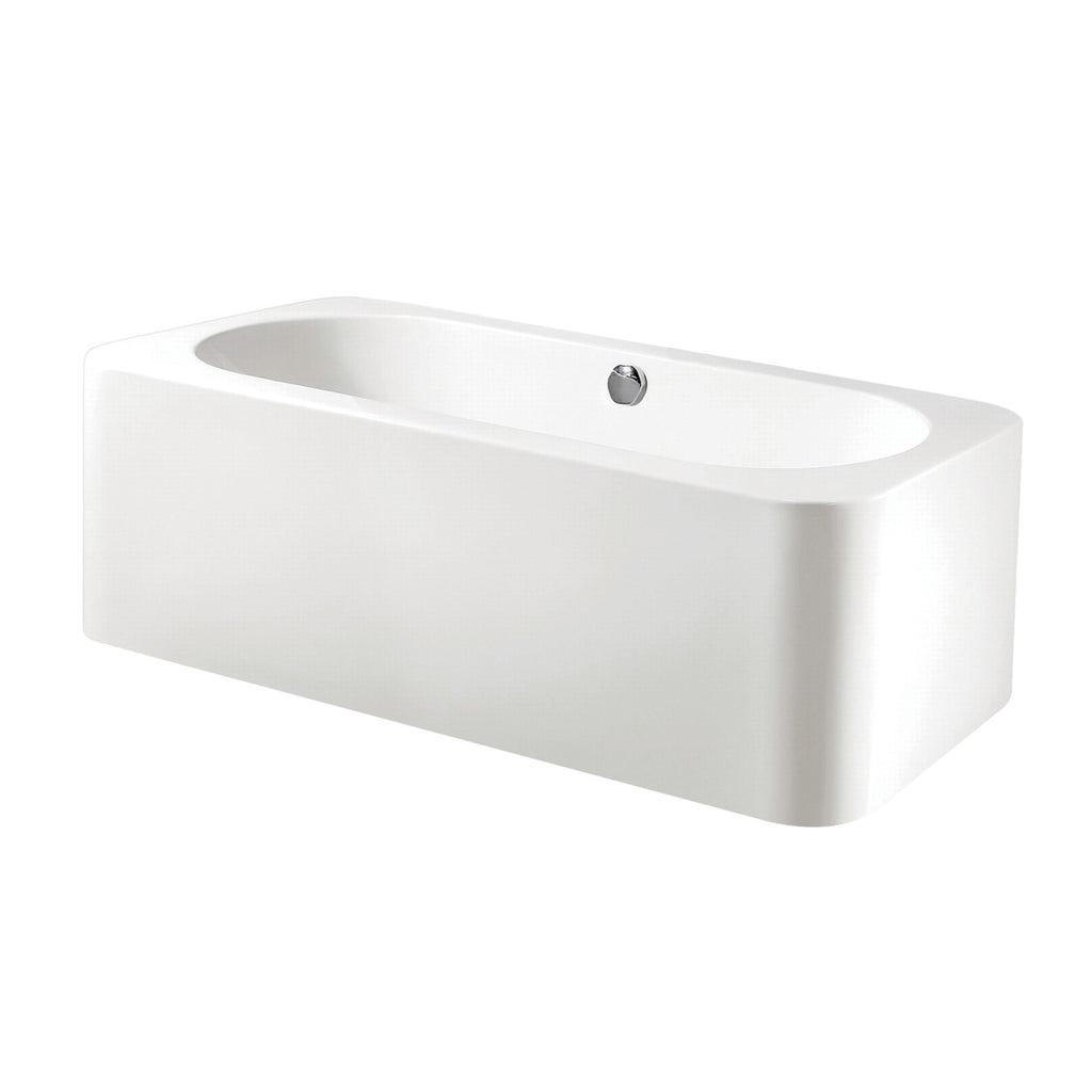 Aqua Eden 71-Inch Acrylic Freestanding Rectangular Tub with Drain, White