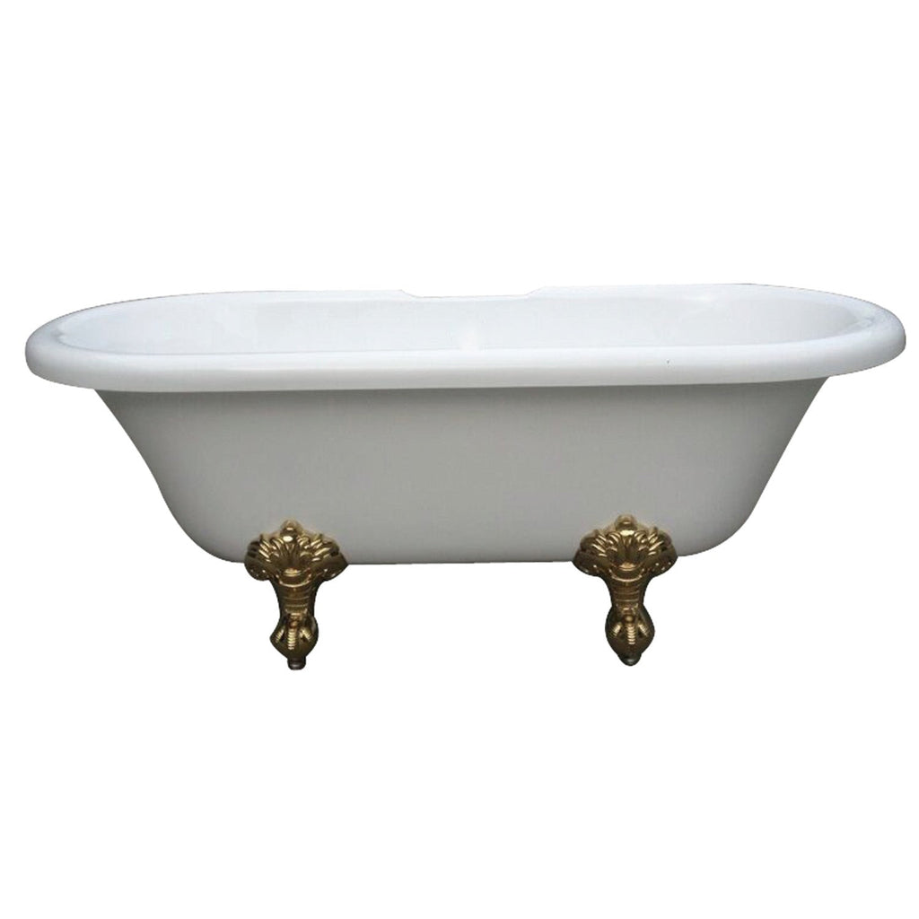 "Aqua Eden 67"" Acrylic Double Ended Clawfoot Bath Tub with Feet No Faucet Drillings"