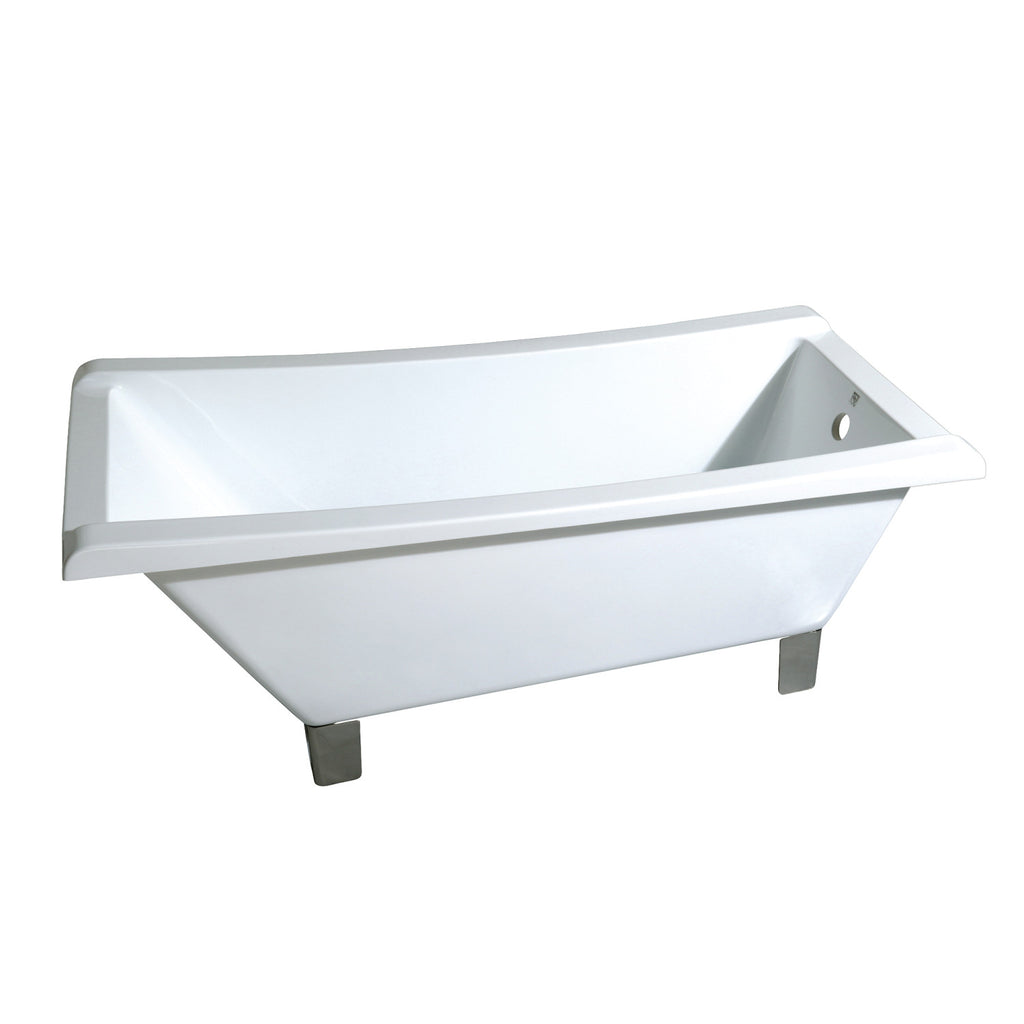 "Aqua Eden 67"" Acrylic Square Clawfoot Bath Tub with Feet No Faucet Drillings"