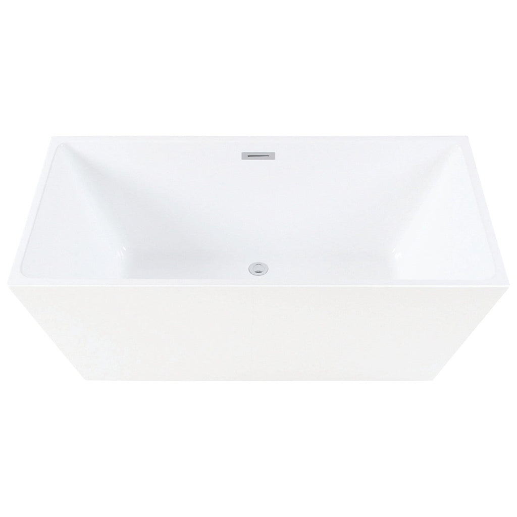 "Eden 59"" Freestanding Square Acrylic Tub with Drain"