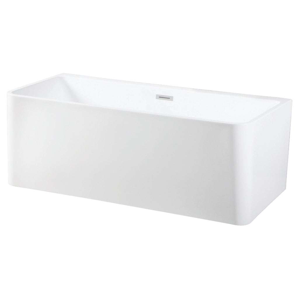 "Modern 67"" Freestanding Square Acrylic Tub with Drain"