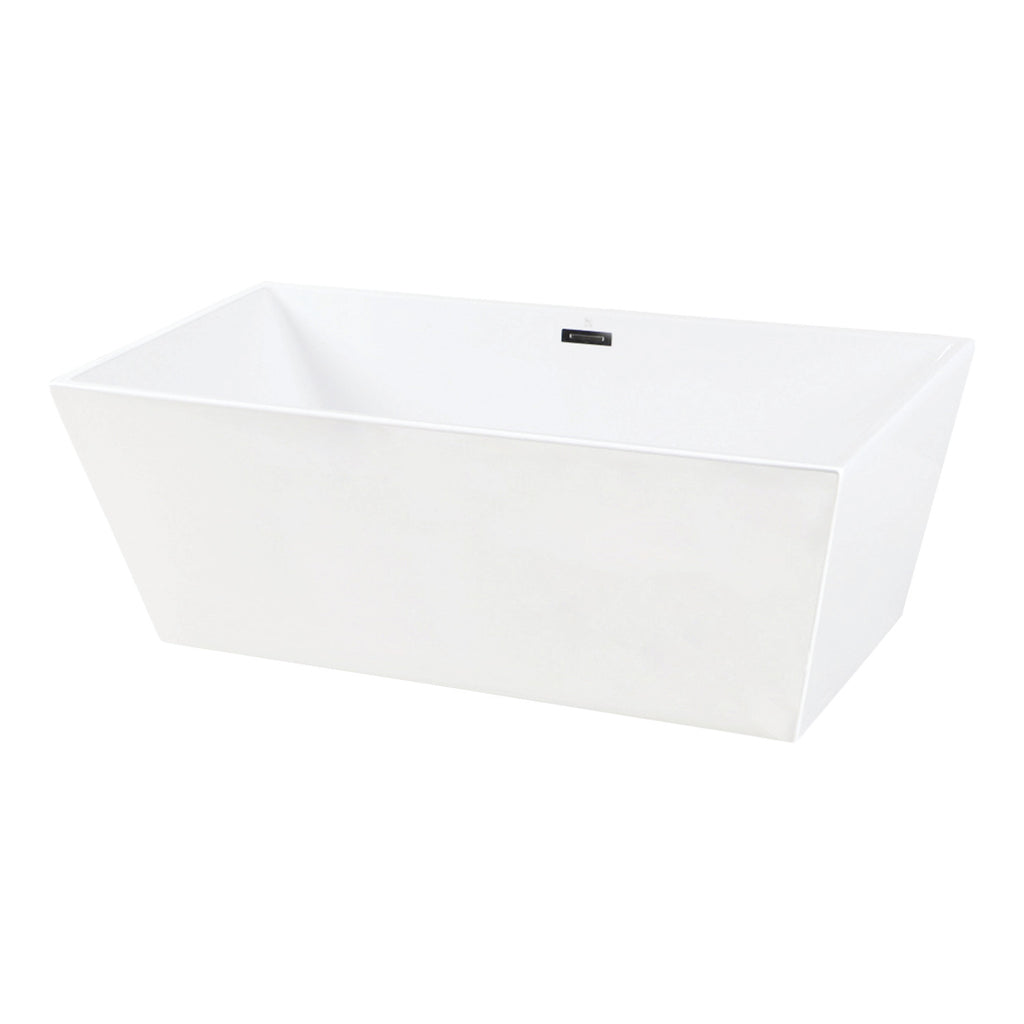 "Eden 67"" Freestanding Square Acrylic Tub with Drain"