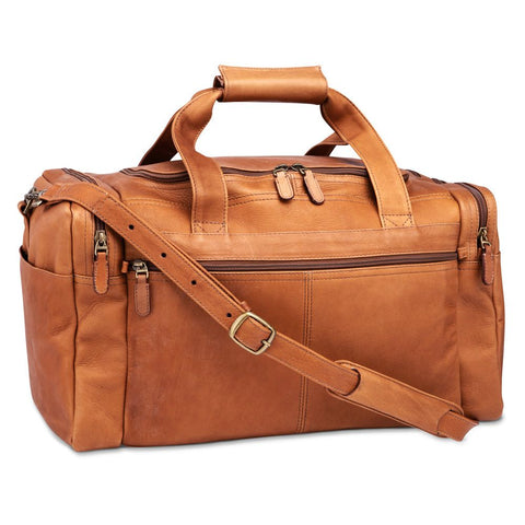 "18"" multi-pocket leather duffel"