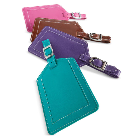 "Bright, genuine leather tag identifies your luggage with a hidden ID slot sized for a business card. Assorted colors. 4"" x 2.75"". Assorted colors."