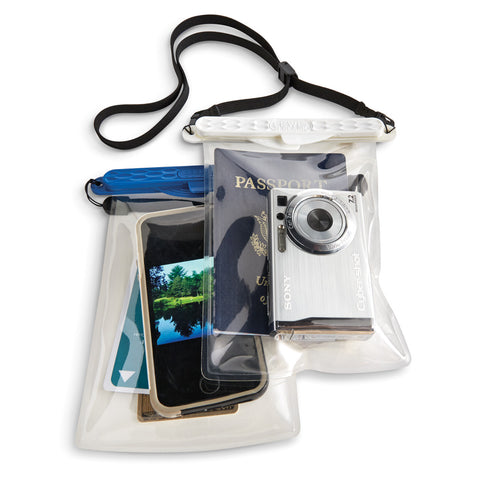 Keep phones, keys, and cameras safe in a pouch that's waterproof up to 100 ft.