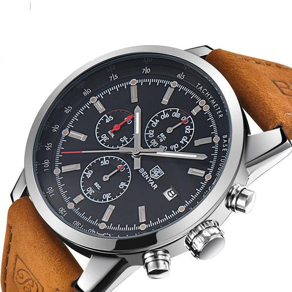 Benyar Luxury Men's Watch, Quartz Chronograph With Leather Band - Pitchkes.com