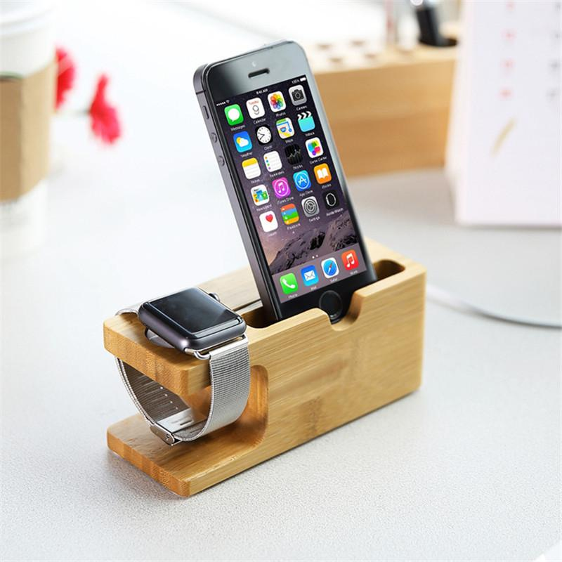 100% Natural Bamboo Mobile Phone and Watch Charging Dock Station