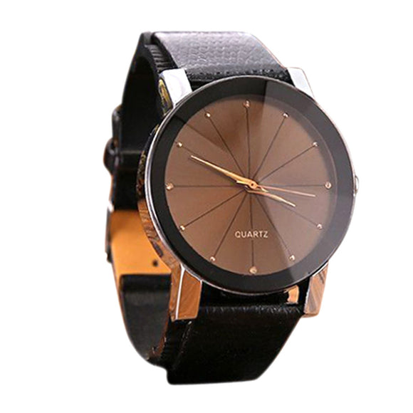 Casual Stainless Steel With Leather Band Wrist Watch - Pitchkes.com