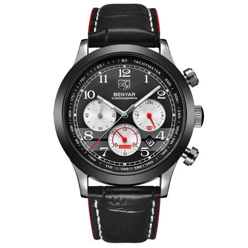 BENYAR Chronograph Men's Luxury Quartz Watch with Leather Band - Pitchkes.com