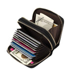 Genuine Leather Double Zipper Card Holder Wallets For Men's - Pitchkes.com