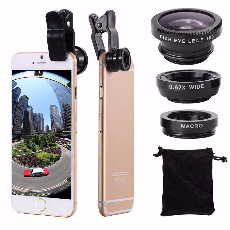Universal 3 in 1 Mobile Phone Clip Lenses Fish Eye + Wide Angle + Macro Camera Lens, for Smartphones