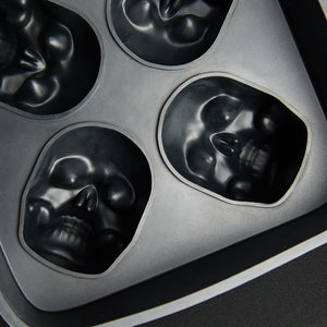 3D Flexible Silicone Skull Ice Cube Mold Tray - Pack of 2