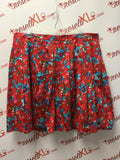 Talbots Size 22P Red & Blue Floral Cotton Blend Skirt