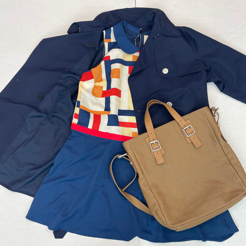 Modcloth mini dress, leather tote, navy trench coat