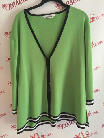 Misook Size 1X Apple Green Sweater - V neck, button down