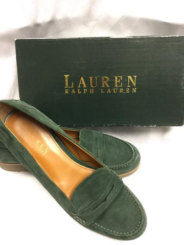 Ralph Lauren Green Suede Loafers 11B