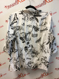 Talbots Size 20 Black and White Botanical Print Blouse