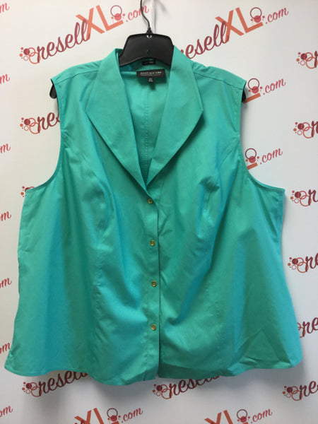 Jones New York Size 22W Seafoam Green Sleeveless Blouse (Cotton)