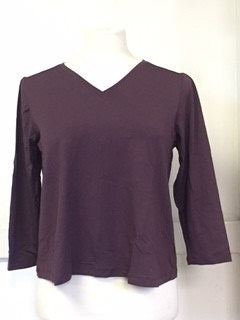 OVAL Size 14 Plum Long Sleeve V Neck Shirt