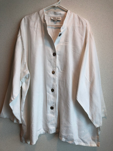 David Dart Size 3X White Linen Button Down Blouse