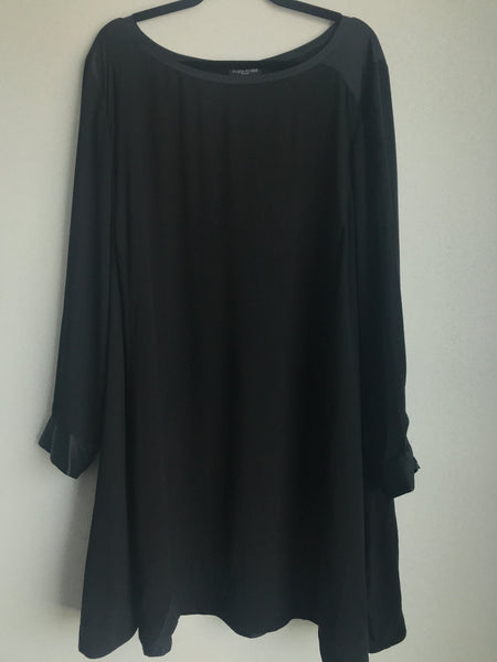 Eileen Fisher Size 3x Black Silk/Spandex Blend Dress