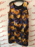 Jones New York Size 18W Blue and Orange Abstract Print Shift Dress