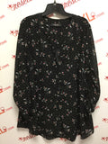 Michel Studio Size 1X Sheer Printed Black Blouse
