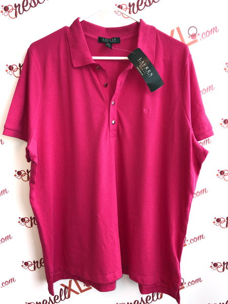 Ralph Lauren Size 2X Hot Pink Golf Shirt NWT