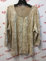Chico's Size XXL Gold Floral Blouse with 3/4 Sleeves