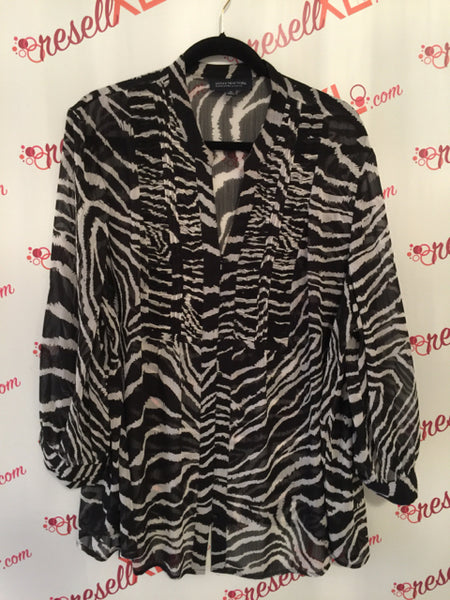 Jones New York Size 3X Black and White Print Blouse