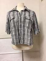 OVAL Size 16 Black and White Plaid Button Down Blouse (Cotton) (Petite)