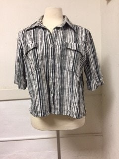 OVAL Size 20 Black and White Plaid Button Bown Shirt (cotton) (petite)